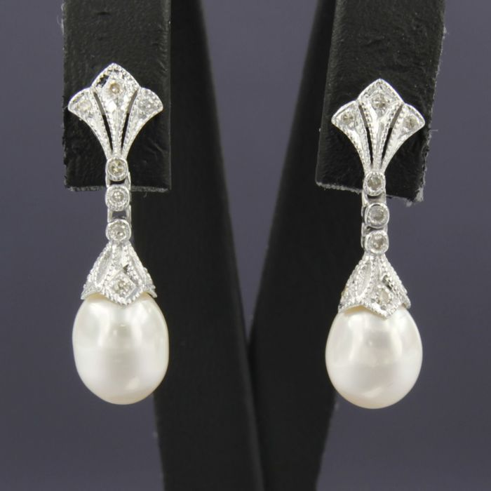 Earrings - White gold - Diamond and Pearl