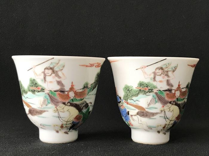 Two  wucai cups  - China - 19th century