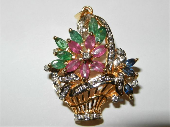 Brooch/pendant in 18 kt gold - basket with diamond bow and flowers made of rubies, sapphires and emeralds
