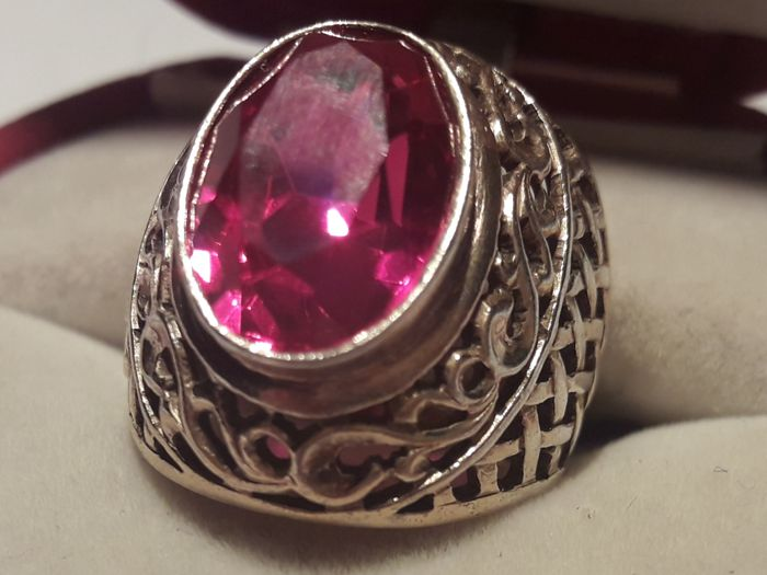 Beautiful Vintage silver ring with natural red stone. Made in USSR.