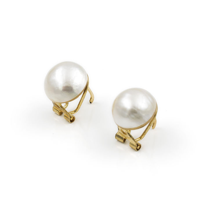 18 kt. Mabe pearl, Saltwater pearls, Yellow gold - Earrings
