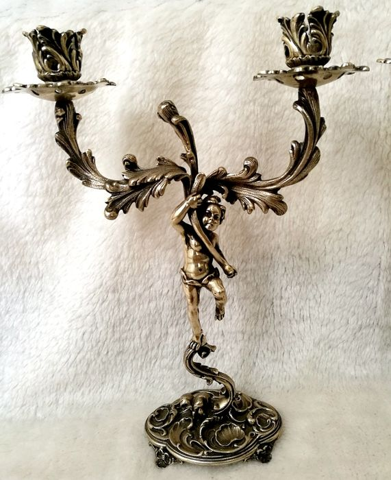 Pair of Candelabra, Stems with Liberty Putti - .800 silver - Italy - 1900-1949
