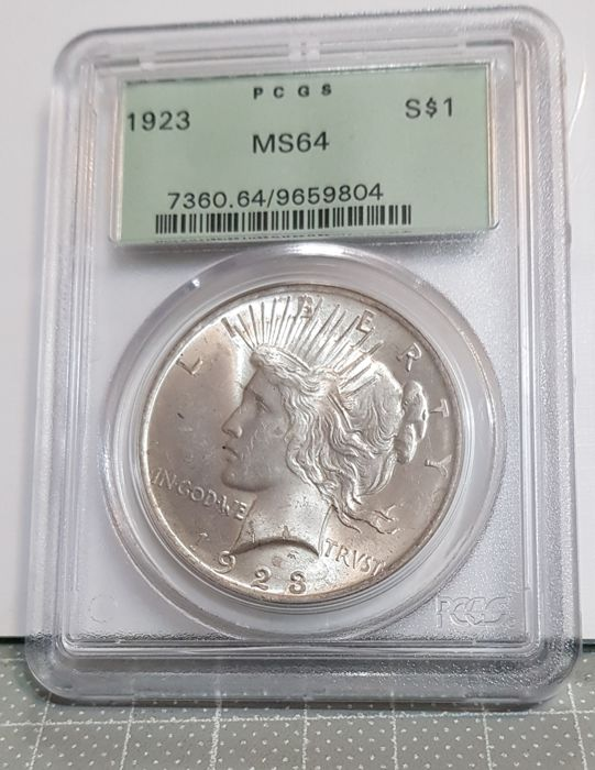 USA - 1 Dollar 1923 Peace in PCGS Slab - Silver