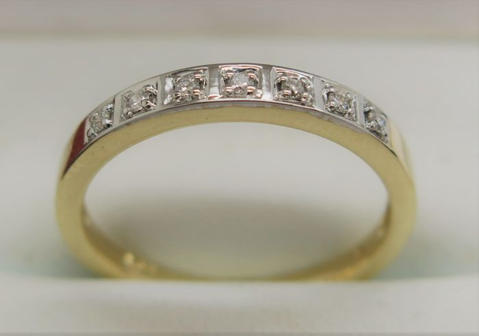 Diamond (0.10) Eternity 9K Gold Ring. Size N (53 3/8) - Free Resizing