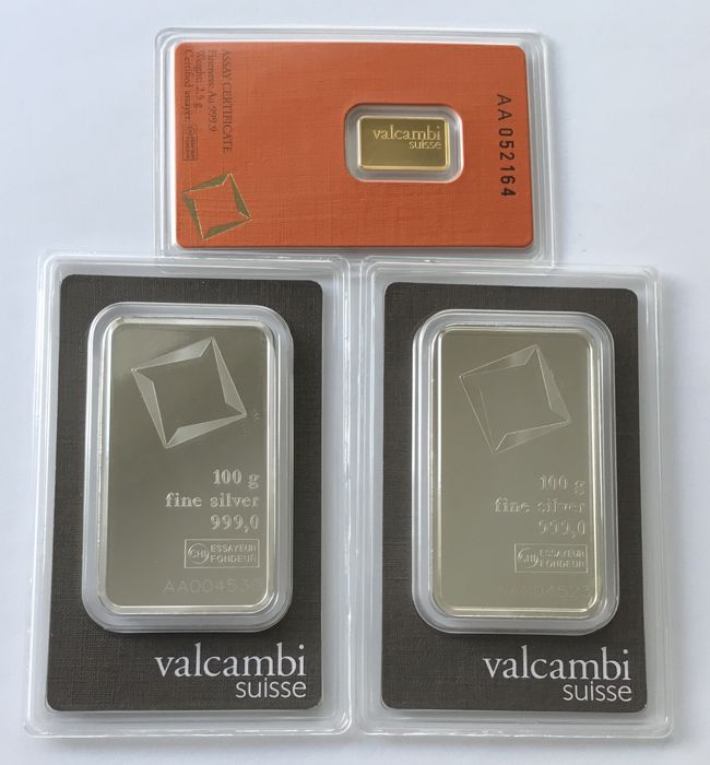 Valcambi - 2.5 g Gold and 2 x 100 g Silver - 999.9 - Minted - Blister