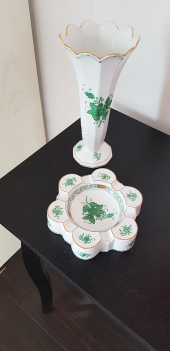 Herend Vase And Ashtray Chinees Bouquet Green Motief Catawiki