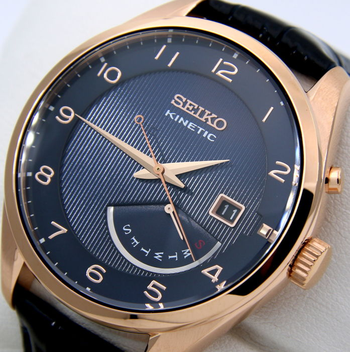 "Seiko - Kinetic 100M ""Gold-Blue"" - ""NO RESERVE PRICE"" - Men - 2018"