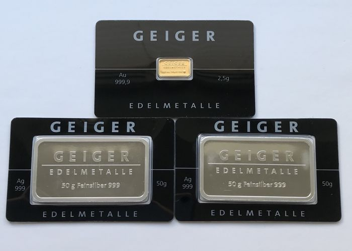 Geiger - 2.5 g gold and 2 x 50 g silver - 999 - minted - blister