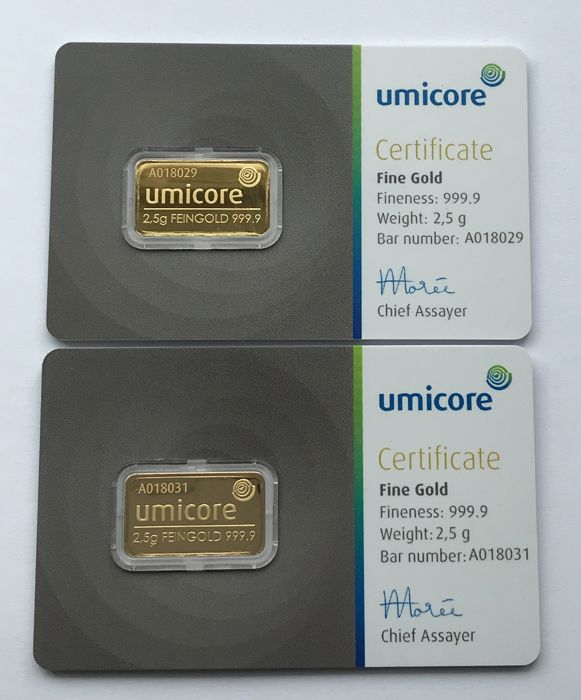 2 x 2,5 Gramm  - Gold .999 (24 kt.) - Umicore - Seal+Certificate