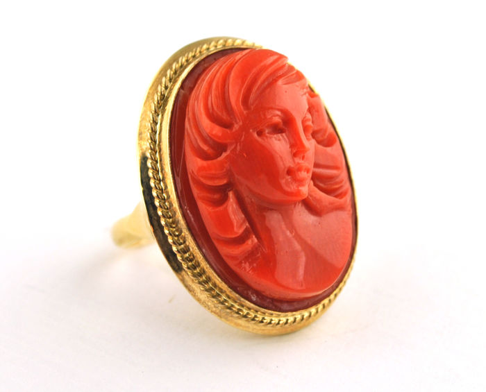Antique Red Coral Lady, hand carved precious Coral set on 14karat Yellow Gold Ring