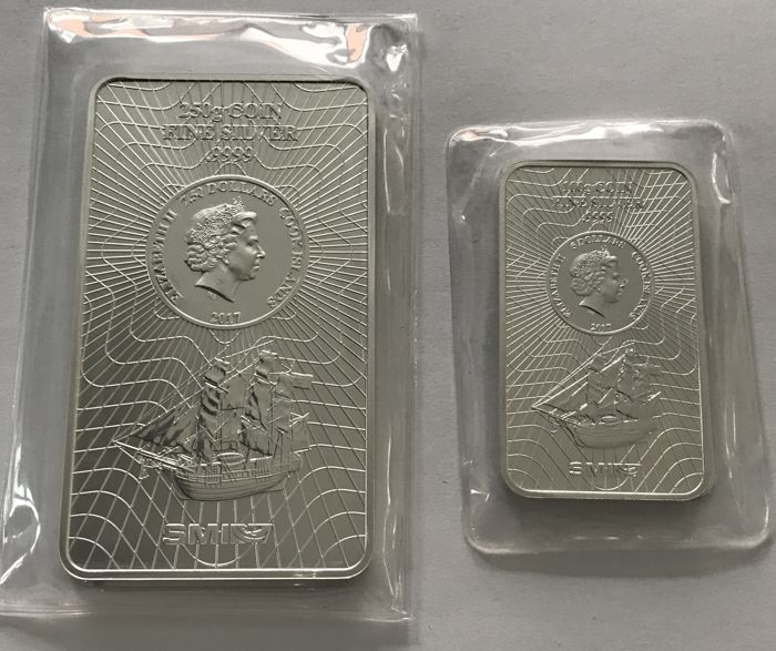 SMI - 100 grams and 250 grams - 999.9 silver - minted - sealed