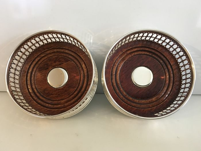Broadway & Co Pair of cased Sterling silver pierced coasters  - Hopea - .925