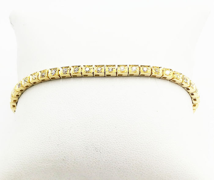 Tennis - 18 kt yellow gold bracelet with brilliant cut diamonds, colour G/VS, total 1.20 ct, length 19.00 cm, total weight  14.42 g
