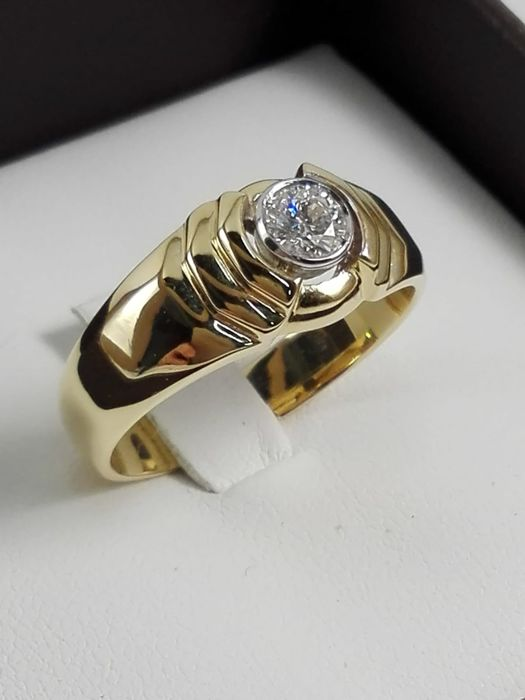 Unisex ring in yellow and white gold 18 kt with natural diamond weighing 0.27 ct - Size 21 IT/61 EU