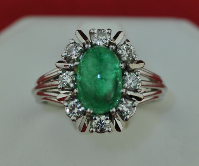 Antique - 18 kt. White gold - Ring Emerald - Diamond