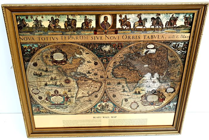 Blaeu World Map.Antiek Ingelijste Blaeu Wall Op Gouden Folie The Map Of The Old And