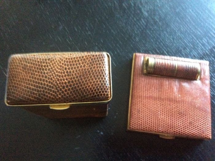 Compact, lipstick and cigarettes holder - Set of 2 - Snakeskin