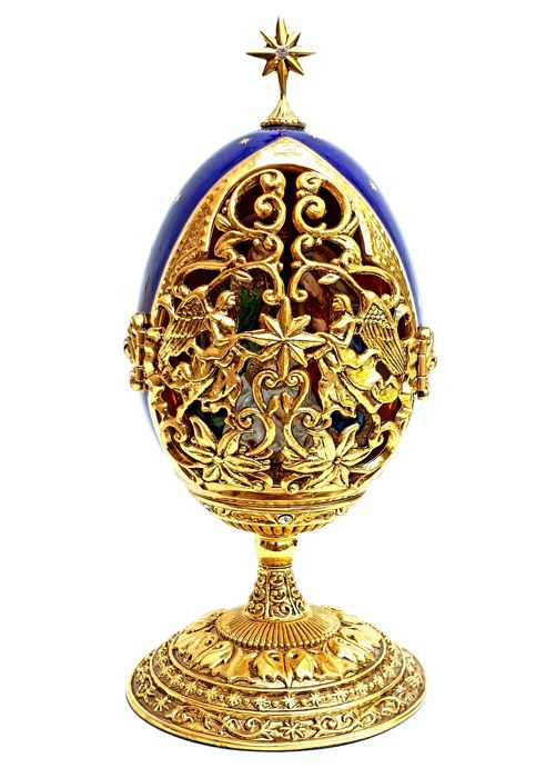 Fabergé - A King Is Born Collector's Egg - Complete with Certificate of Authenticity - 24 carat gold plated, Austrian Crystals, With unique serial number, COMES IN ORIGINAL PACKAGING
