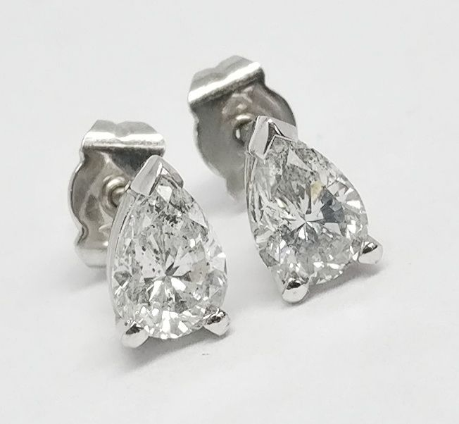 An 18k Certified Diamond Earrings  with 1.64 cts total