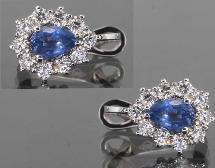 14 quilates Oro blanco - Pendientes - 1.10 ct Zafiro - Diamante