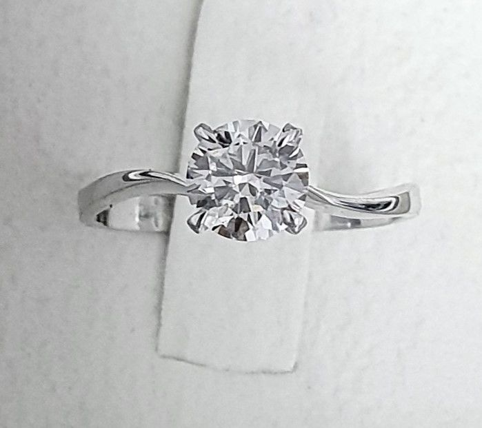 0.79 ct D/SI1 Brilliant Diamond Ring - in 14 kt white gold - Big AIG Certified + Laser Engraved On Girdle - size 52.5 (Fr) , 6 1/14 ( USA)