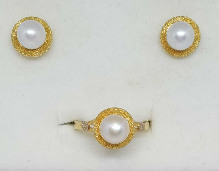 18 kt. Saltwater pearls, Yellow gold, 7.5 mm - Earrings, Ring pearls