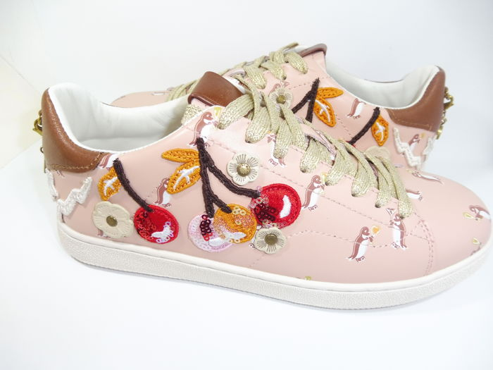 b3da6117 Coach - With Cherry Patches And Charms Sneakers With Box - Catawiki