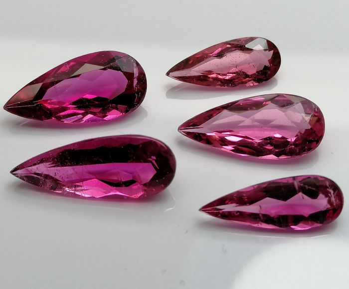 Lot of 5 Tourmalines - 5.50 ct in total