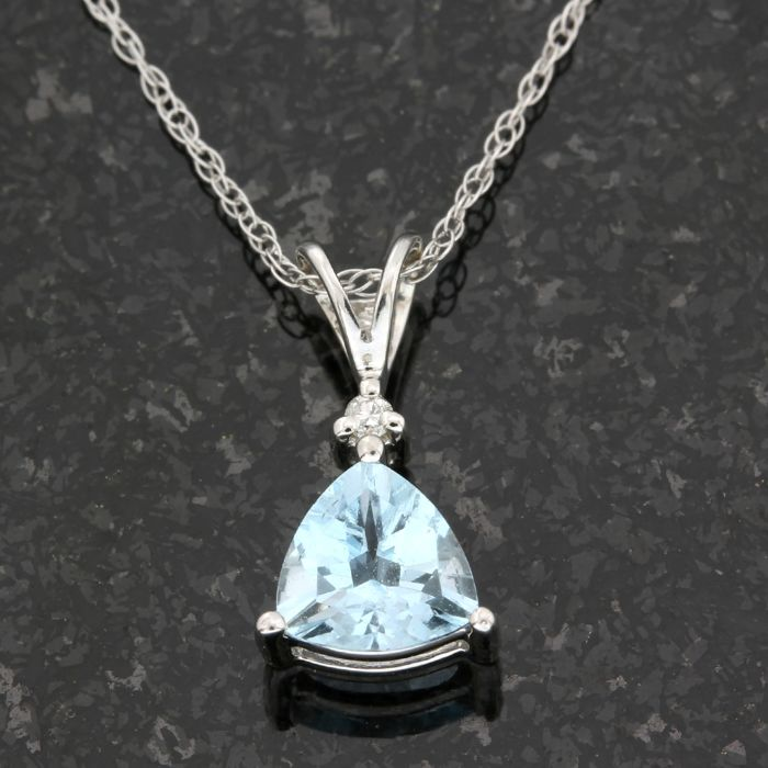 14kt White Gold 2.00ct Trillion Cut Aquamarine and 0.01ct Round Brilliant Cut Diamond Pendant Necklace; Pendant - 14 mm Long, Chain - 18 Inches Long