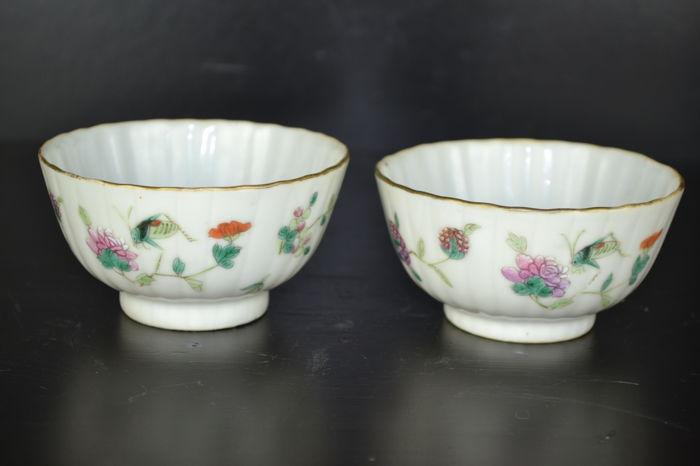 A pair famille Rose bowls - China - 19th c