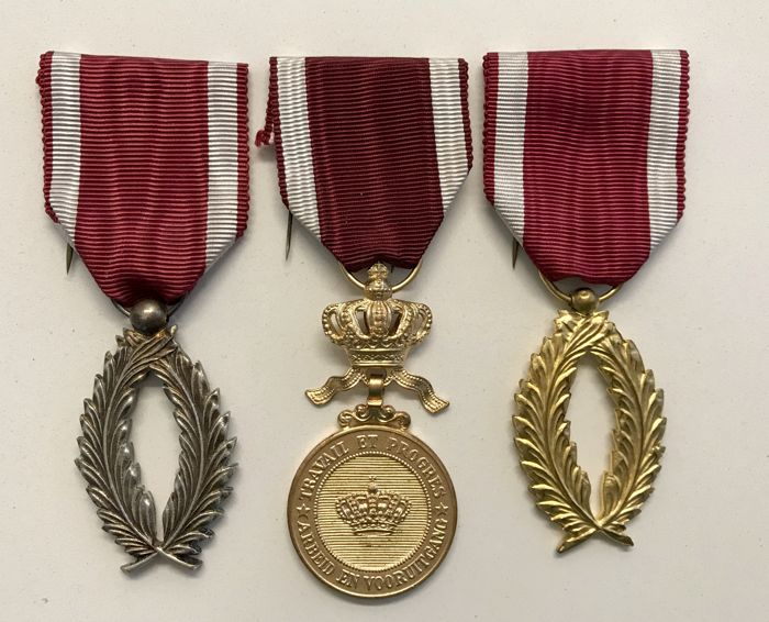 Belgium - 3 x Order of the Crown - Medal - 1960