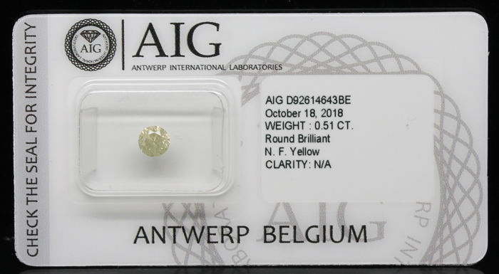 0.51 ct Certified Fancy Yellow Round Brilliant Cut Diamond  - NO RESERVE