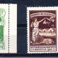 Alankomaat 1916 - Internment stamps with certificate - NVPH IN1/IN2