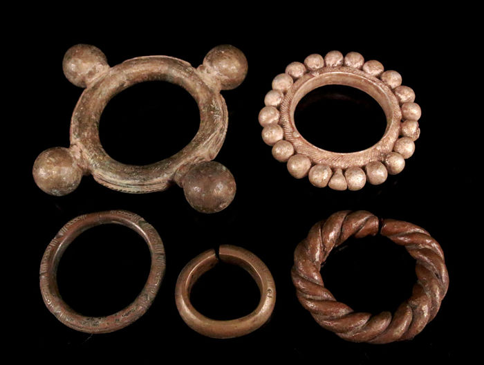 Lot of 5 old bronze bangles from West Africa