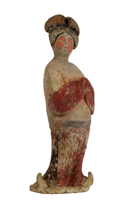 Mingqi - Terracotta - A Large Painted Pottery Figure of a Fat Lady, TL - High 40 cm. - China - Tang Dynasty (618-907)