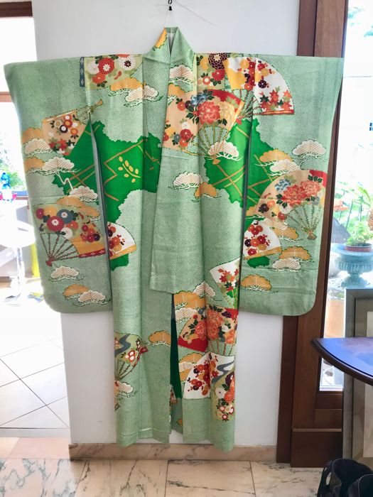 Vintage Silk Furisode Kimono for girls' 20th birthday ceremony - Japan - Mid-20th century