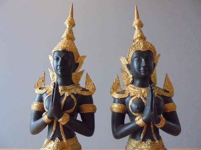 Temple guard couple made of bronze - ca. 1980 - 58 cm - 12.1 kg