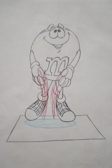 M & M -  Original Animation Production Drawing - Loose page - from advertising - Commercial - (1980)