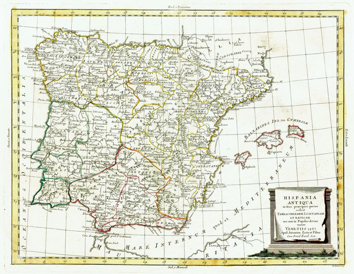 Spain Ancient Spain And Portugal Antonio Zatta Hispania Antiqua