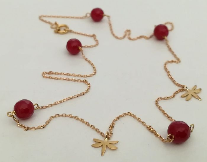 19,2 kt. Yellow gold - Necklace Ruby 6 mm