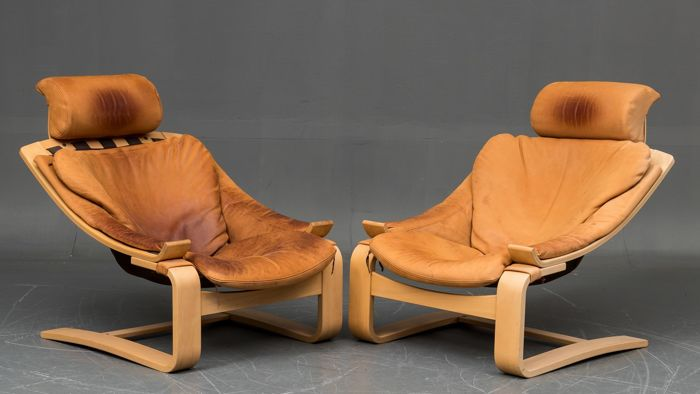Åke Fribyter - NELO - set of 2 armchairs, model 'Kroken'