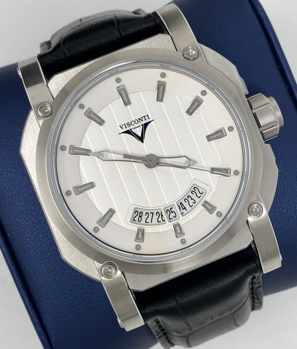 Visconti - Up to Date Elegance Silver with Alligator Strap 013/250 - W101-01-101-0124 - Men - NEW