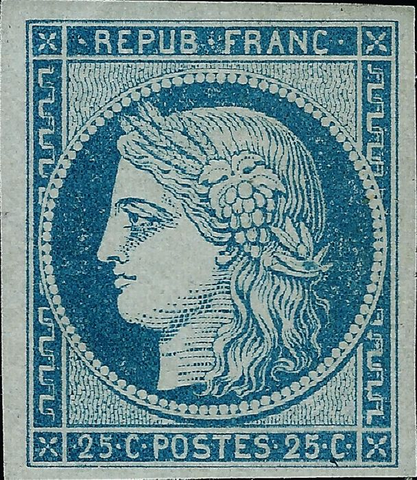法國 1850 - Ceres 25 cents blue - Yvert 4