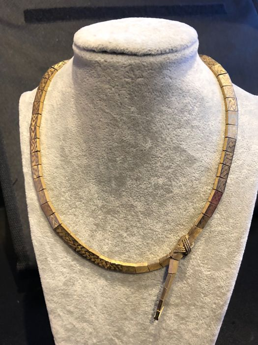 German designers Grosse 1963 dated gold plated pattern necklace
