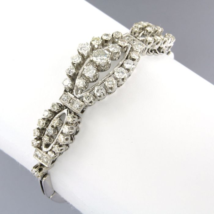 14 quilates Oro blanco - Brazalete - 3.00 ct Diamante