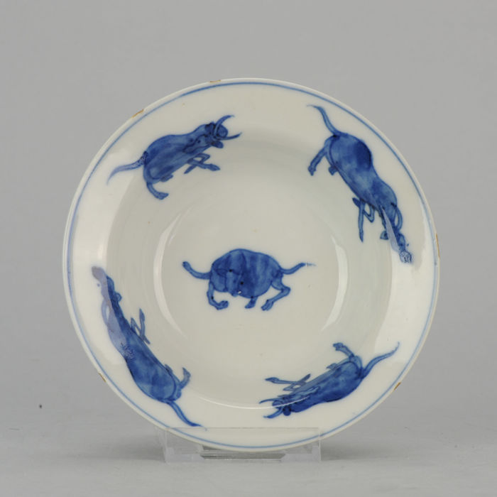 Porcelain blue plate -  China - Ming/transitional, 17th c