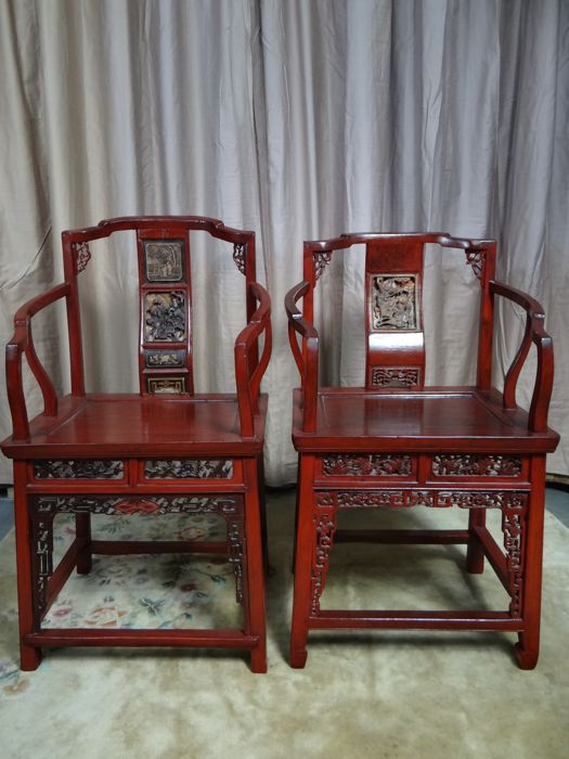 Sensational Two Red Painted Wooden Chairs Decorated China Late 20Th Home Interior And Landscaping Oversignezvosmurscom
