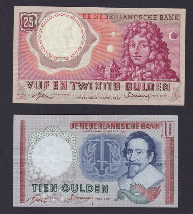 The Netherlands - 10 and 25 guilders 1953 and 1955
