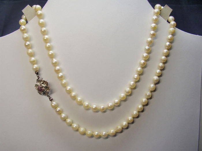 Necklace - Akoya pearls, White gold - 150 ct - Pearl and Ruby