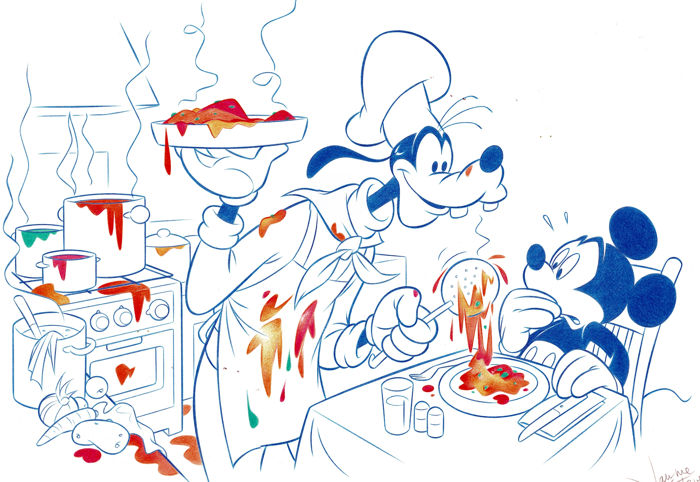 Mickey Mouse and Goofy Chef - Original Drawing - Jaume Esteve - 50 x 35 cm - First edition